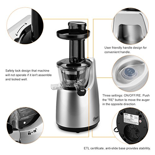 O-Breko Slow Masticating Juicer with 200W 65 RPM DC Motor and Reverse Function, Spraying Silver ...