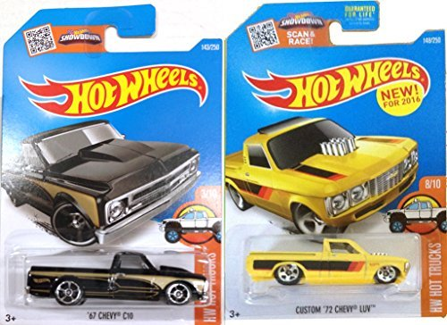 (Chevy 2016 Hot Wheels Pickup Truck Set 2015 '72 Chevy Luv - '67 Chevy C10 in PROTECTIVE CASES )