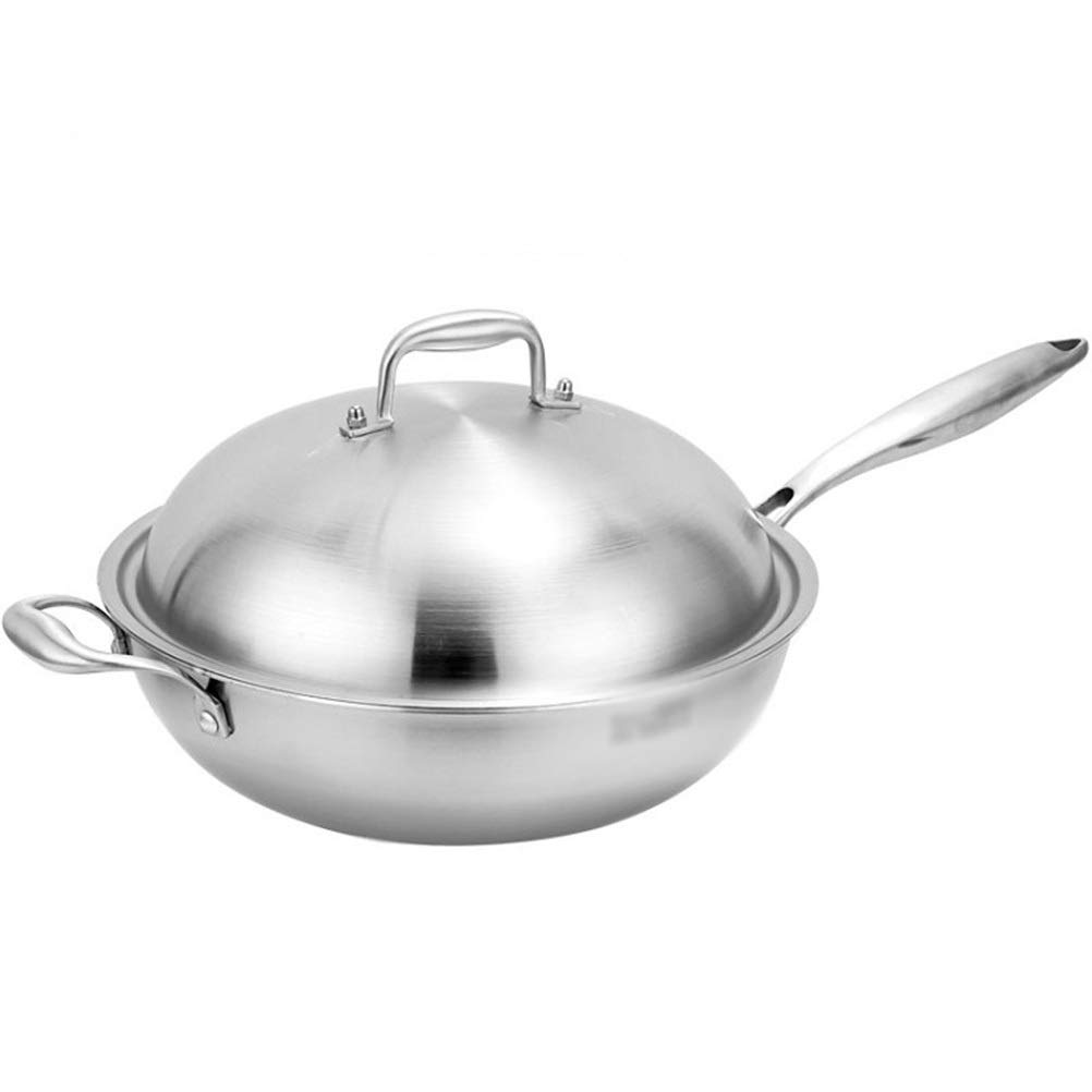 WYQSZ Wok - Household non-stick pan without oil smoke pot Uncoated health wok durable multi-function wok -fry pan 2365 (Design : B, Size : 3016cm/20cm)