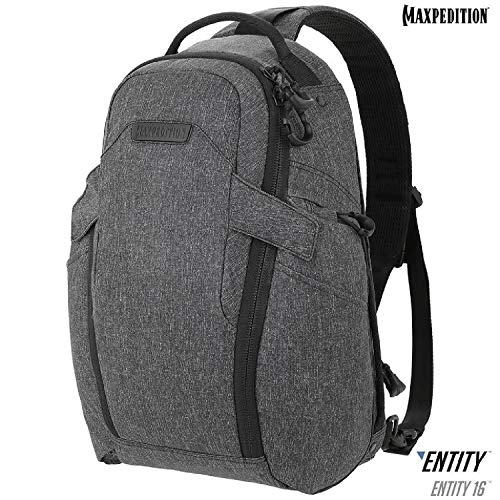 Maxpedition Gear Entity 16 CCW-Enabled EDC Sling Pack 16L for Covert Concealed Carry, Charcoal