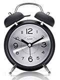 Fzy.bstim 4'' Twin Bell Alarm Clock for Heavy Sleepers,with Backlight, Loud Alarm Clock Battery Operated (Black)
