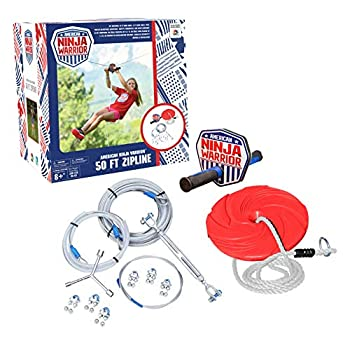 Image of ANW American Ninja Warrior Zipline: (80ft & 50ft Versions) Backyard Zipline, Outdoor Adventure, American Ninja, Camping Zipline (80 ft) Play Sets & Playground Equipment