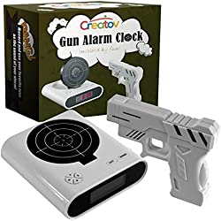 Target Alarm Clock With Gun, Infrared target and Realistic Sound Effects infrared 0.8 mw -White- By Creatov-No batteries included