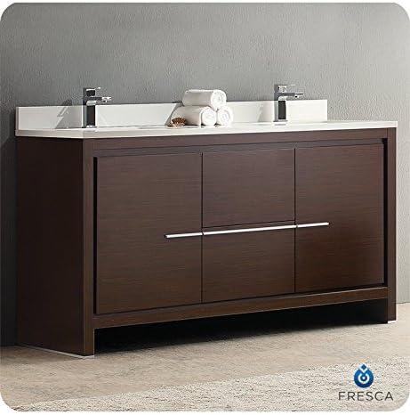 Fresca Allier 60 Wenge Brown Modern Double Sink Bathroom Cabinet w Top Sinks
