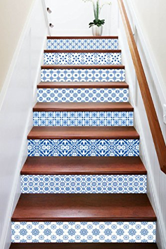 3D Clear Blue Pattern 7843 Stair Risers Decoration Photo Mural Vinyl Decal Wallpaper Murals Wallpaper Mural US Lemon (15x H:18cm x W:94cm (7''x37'')) by AJ WALLPAPER