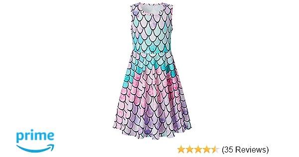 4a4f72be6b8 RAISEVERN Girls Printed Dress,Kids Cute Unicorn and Mermaid Designed Summer  Sleeveless Sundress for Little Girls 4-13 Years