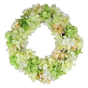 Silk Flower Arrangements Northlight Hydrangea Twig Artificial Floral Wreath, Yellow 15-Inch