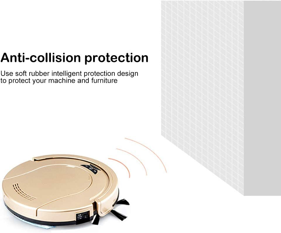 BL Robot Vacuumm Cleaner, 2.2in Thin, Anti-Falling and Obstacles Detection, Robotic Cleaners, Auto Sweeper for Hardwood Floor Tile Gold