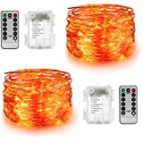 YIHONG 2 Sets Orange Fairy String Lights Battery Operated,16.4ft 50Leds Twinkle Firefly Lights Remote Control Fairy Lights Halloween Christmas Bedroom Patio Wedding Party Indoor Outdoor Decor