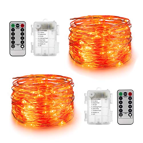 YIHONG 2 Sets Orange Christmas String Lights Battery Operated Fairy Lights,16.4ft 50Leds Twinkle Firefly Lights 8 Modes with Remote Control for Bedroom Patio Garden Part Indoor Decoration]()