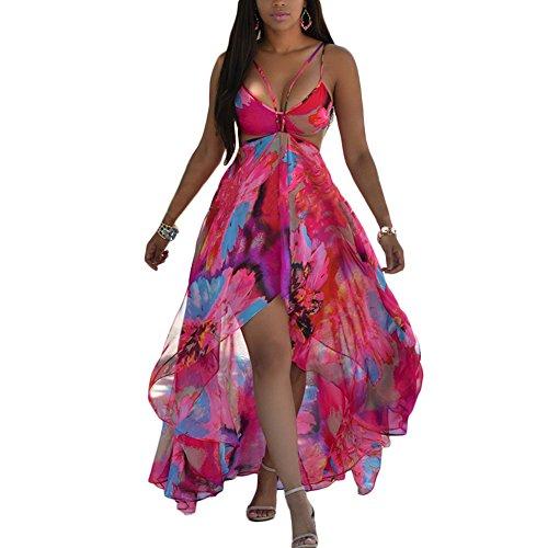 Women Sexy Boho Long Evening Party Chiffon Beach Dress (2XL, Red) (Sexy Womens Fancy Dress)