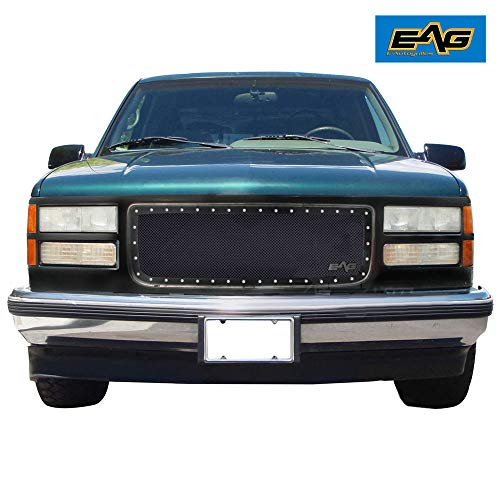 EAG Rivet Black Stainless Steel Wire Mesh Grille Fit for 94-98 GMC C1500 / 2500/3500 / 94-98 GMC K1500 / 2500/3500 (C1500 Suburban Grille Gmc)