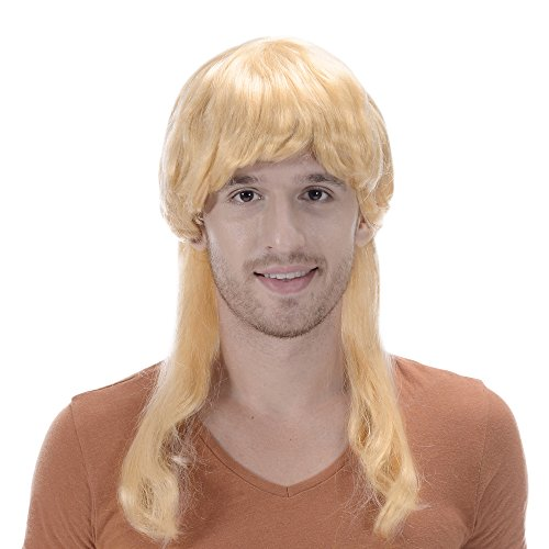 Men's Long Straight Wig Blonde Color Synthetic Spike Halloween Cosplay Party Wig with Bangs -