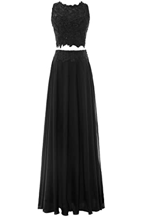 Pretygirl Womens Two Piece Chiffon Lace Evening Dress Long Prom Dress Bridesmaid Dress (US 2
