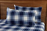 queen plaid flannel sheets - Super Soft Extra Plush Plaid Polar Fleece Sheet Set. Cozy, Warm, Durable, Smooth, Breathable Winter Sheets with Plaid Pattern. Dara Collection By Great Bay Home Brand. (Queen, Navy)