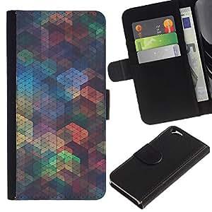 KLONGSHOP // Tirón de la caja Cartera de cuero con ranuras para tarjetas - Patrón Polígono iridiscente trullo Formas - Apple Iphone 6 //
