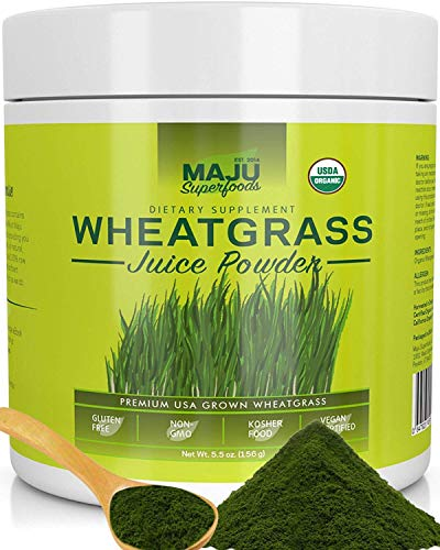 Organic Wheatgrass Juice Powder: Grown in Volcanic Soil, No High Temperatures Used, Non-GMO, Instant Juice Powder, Simply The Best on Earth ()