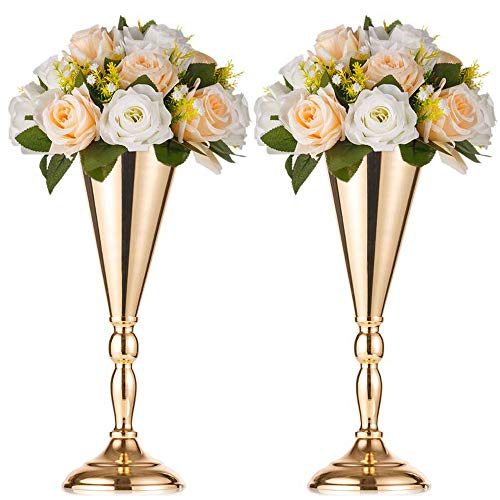 Sfeexun Tabletop Metal Wedding Flower Vase Stand Table Decorative Centerpiece Artificial Flower Arrangements for Anniversary Ceremony Party Birthday Event Aisle Home Decoration (2 x S)