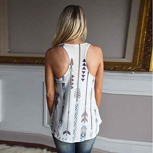 HODOD Women Basic Boho Print Racerback Loose Shirt Casual Tank Tops Vest Camis by HODOD (Image #2)