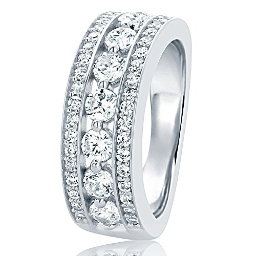 - HB AMERICA Sterling Silver Wedding Ring Round CZ Seven Stone Anniversary Ring 7MM (Size 5 to 10), 9