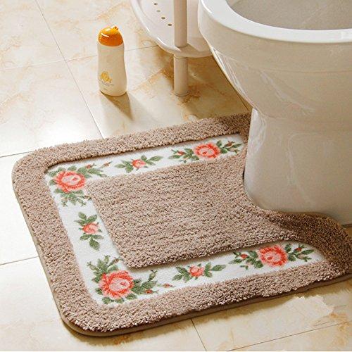 Ukeler Luxurious Soft Floral Non-Slip Toilet Contour Rug, Contour Bath Rug, Soft Shaggy U-shaped Toilet Floor Mat for Bathroom 20-By-20 Inch, Mocha