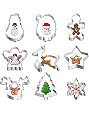 TUPARKA 9 Pcs Christmas Cookie Cutter Set,Christmas Cookie Cutters Cookie Mold Includes Snowflake, Reindeer, Angel, Christmas Tree, Santa Face, Snowman, Star, Gingerbread Men,Approx 3 Inch
