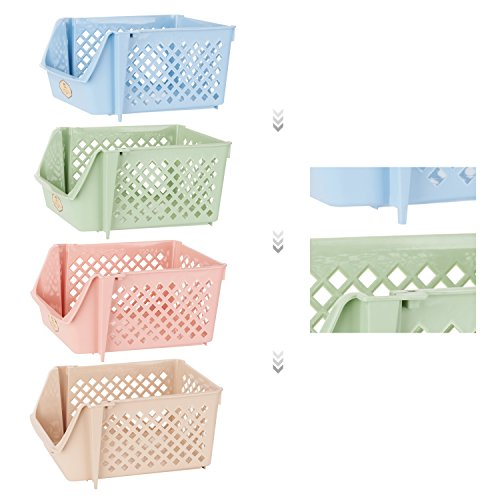 Titan Mall Storage Bins Plastic Stackable Storage Bins for Food, Fruits, Files, Mixed Color Storage Baskets, 15 X 10 X 7 Inch/bin, Blue-Green-Pink-Khaki, Set of 4 by Titan Mall (Image #1)