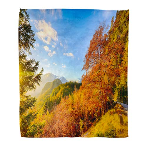 Colorful Valley Autumn Mountain Landscape Green Panorama Scene Scenery Beautiful 60x80 Inches Warm Fuzzy Soft Blanket for Bed Sofa ()