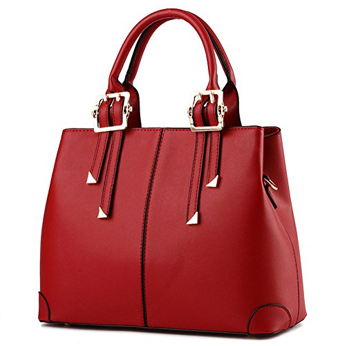Suyi Womens Vintage PU leather Tote Satchel Handbag Shoulder Bag Cross Body Bags Wine Red Red Leather Purse Handbag