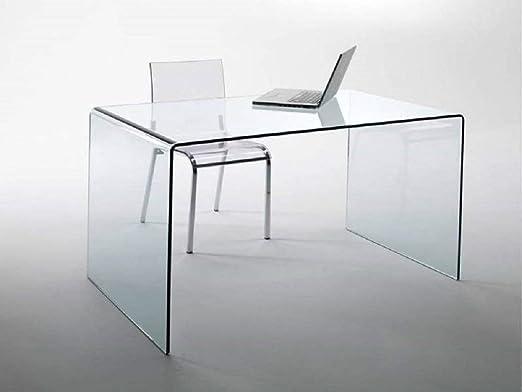 Scrivania Ufficio Cristallo : Scrivania scrittoio da ufficio in vetro temperato curvato luxury