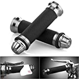 Motorcycle Gunmetal Rubber Hand Grip For 7/8'' 22mm Handlebar Street Sport Dirt Bike with Billet Aluminum Bar End Cap