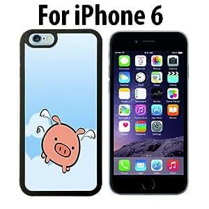 Cute Flying Pig Animal Custom Case/ Cover/Skin *NEW* Case for Apple iPhone 6 - Black - Rubber Case (Ships from CA) Custom Protective Case , Design Case-ATT Verizon T-mobile Sprint ,Friendly Packaging - Slim Case