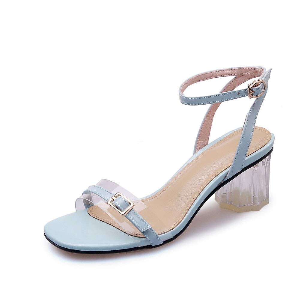 bluee Women's Fashion Thick with High Heels Buckle with Sandals Travel shoes Open Toe Single shoes (color   Beige, Size   34)