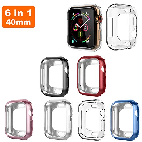 QUA Compatible with Apple Watch Case 40mm,6 Pack Soft TPU Ultra-Slim Lightweight Bumper Scratch Resistant Protective Case Cover Compatible with Apple Watch Series 4 (6Pack) (40mm) (Color Pack Compatible Multi)