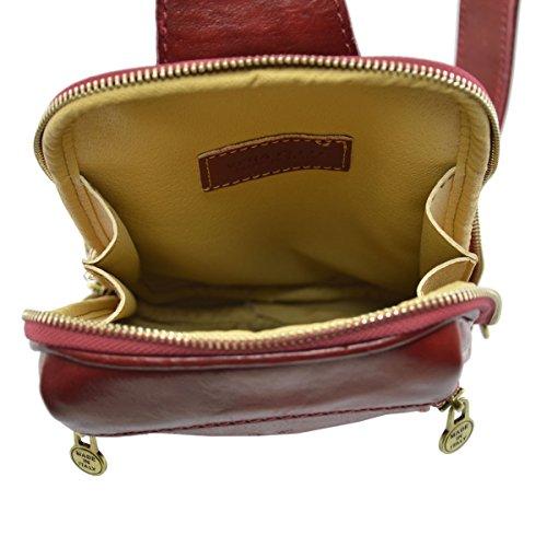 Borsello Monospalla In Vera Pelle Colore Rosso - Pelletteria Toscana Made In Italy - Borsa Uomo
