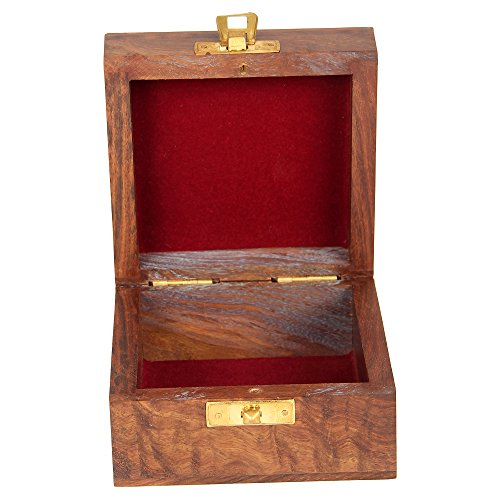 Indian Jewelry Holder - 4 x 4 x 2.25 Inch Small Wood Box - Jewelry Boxes for Bracelet - Present for Her by ShalinIndia (Image #4)