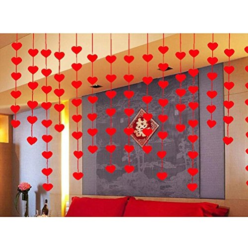 OULII Valentines Day Red Heart Hanging String Garland
