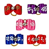 Kuntrona 50pcs Dog Paw Printed Puppy Rubber Band Cat Dog Hair Bows Pet Grooming Accessories mixed colors