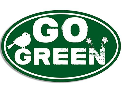 American Vinyl Oval GO Green with Bird and Flowers Sticker (Earth Sticker Decal)