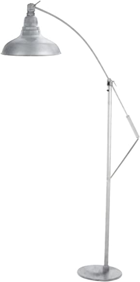 Cocoweb 8″ Dahlia LED Industrial Floor Lamp Galvanized Silver