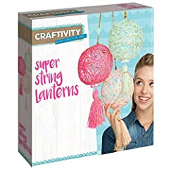 Chic handcrafted string lanterns, with a touch of gold sparkle, make your room shine! Learn classic string art skills as you craft these 3 beautiful lanterns with tassels. Kit comes with everything you need including gold sequin hanging cord,...