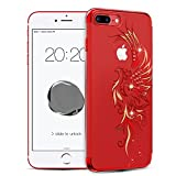 iPhone 7 Plus Bling Case , Diamond Crystals from SWAROVSKI Element Hard PC Transparent Sparkly Protective Cover for Apple iPhone 7 Plus 5.5 Inch (Graceful Bearing Red)