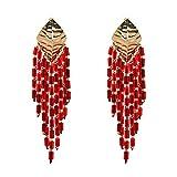 ULUIKY Women's National Style Geometric Patterns Elegant Personality of Tassel Earrings (1-0)