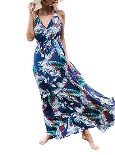 JustVH Women's Deep V-Neck Sleeveless Strap Floral Print Summer Beach Boho Maxi (Tropical Floral Dress)