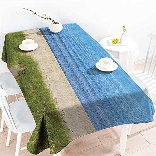 Homrkey Washable Table Cloth Seaside Decor Collection Calm Sea and Beach Scenery Tranquil Calm Resting Place Sacred Dream World Concept Green Cream Blue Easy to Clean W40 -