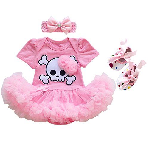 Newborn Baby Girls My 1st Halloween Tutu Outfit Pirate Skull Bodysuit Romper Dress with Ruffle Tulle Skirt + Bow Headband + Crib Shoes First Birthday Clothes Party Costume 3Pcs Set Pink 3-6M -