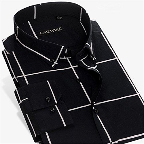 NeeKer Jacket Men's Long-Sleeve Bold Check Plaid Button-Down Shirt No-Pocket Comfortable Cotton Slim-fit Dress Shirt CZQQ132 2 S