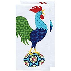 """T-fal Textiles Double Sided Print Woven Cotton Kitchen Dish Towel Set, 2-pack, 16"""" x 26"""", Rooster Print"""