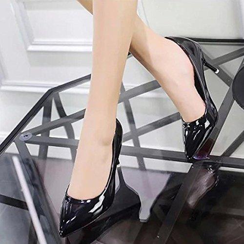 Bouche Rawdah Couleur Fashion de Travail Dames Élégantes Bureau Mode PU Unie Peu en Talon Bureau Cuir Talons D'affaires Talons Lady Hauts Chaussures Décontracté Femmes Noir Profondes Bec XqrBw6X