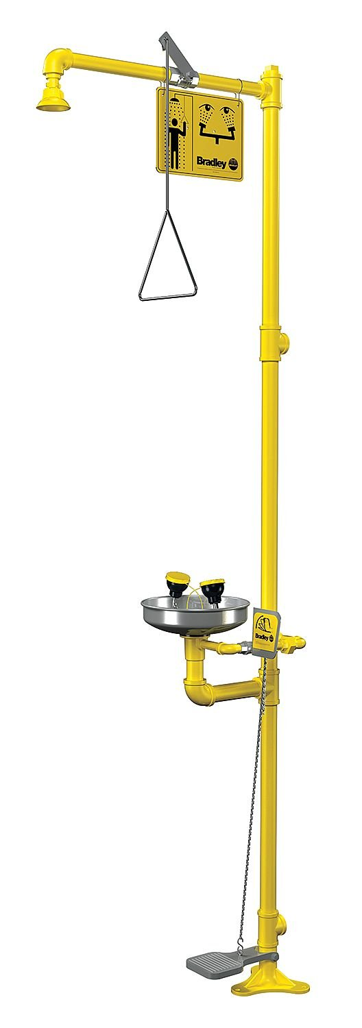 Bradley S19-310AC Galvanized Steel 3 Spray Head Combination Drench Shower and Eye/Face Wash Unit with Stainless Steel Bowl, 20 GPM, 10-3/4'' Width x 90-1/2'' Height x 25-3/8'' Depth, Yellow